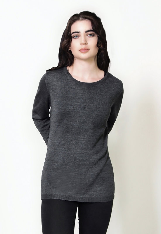 Fine Knit Crew Charcoal