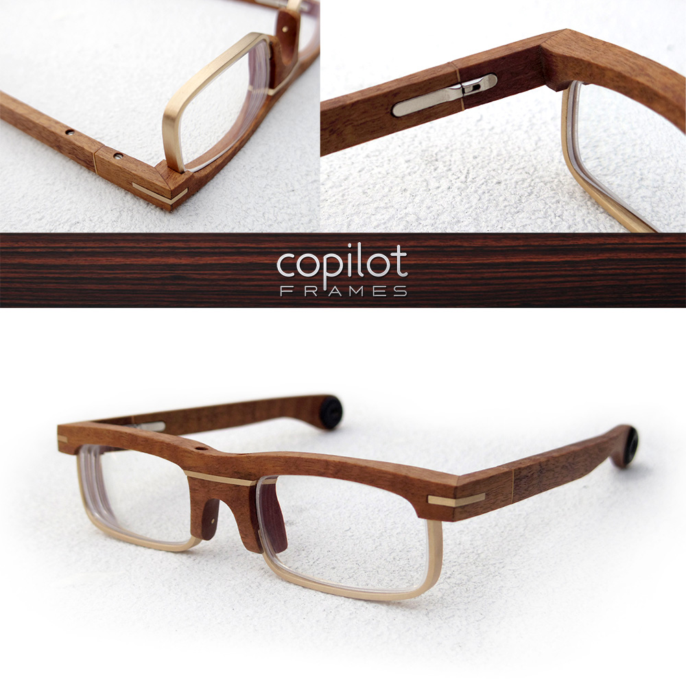 Completed second pair of frames. Made out of Gumwood and brass, using the new Italian hinges