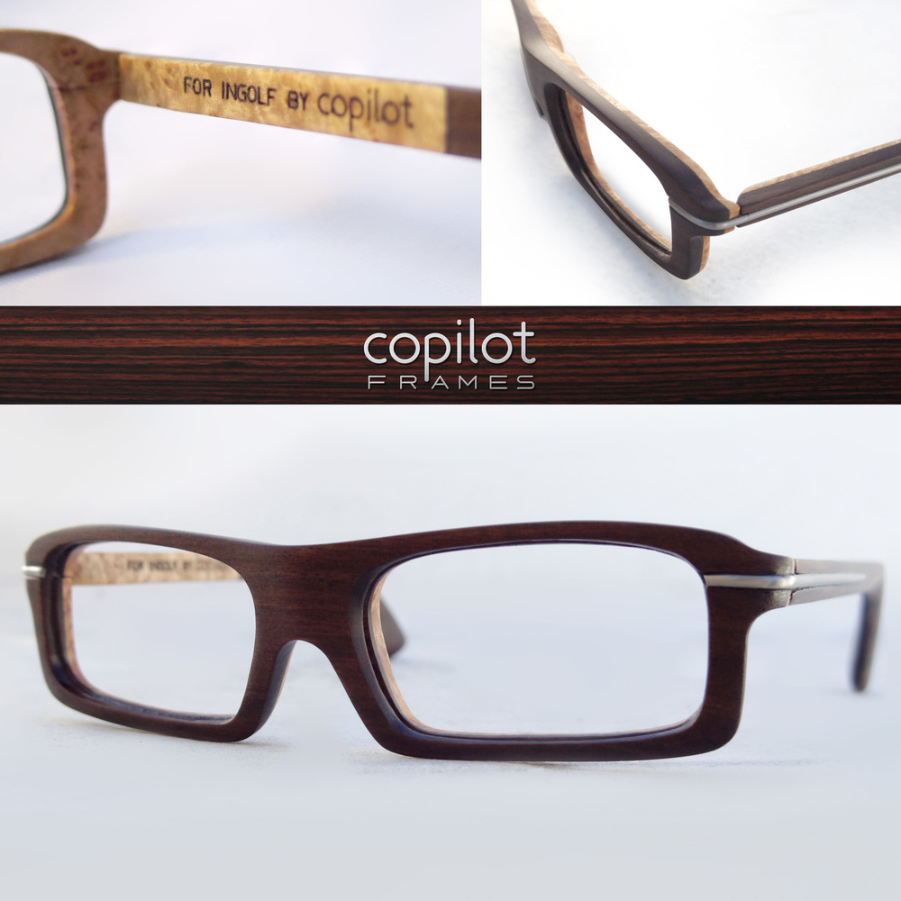 My first client frames! These are custom designed for Ingolf with titanium hinges and made out of an incredible (and sustainable sourced) wood called Tubi which grows exclusively in the Solomon Islands as well as maple burl on the inside.