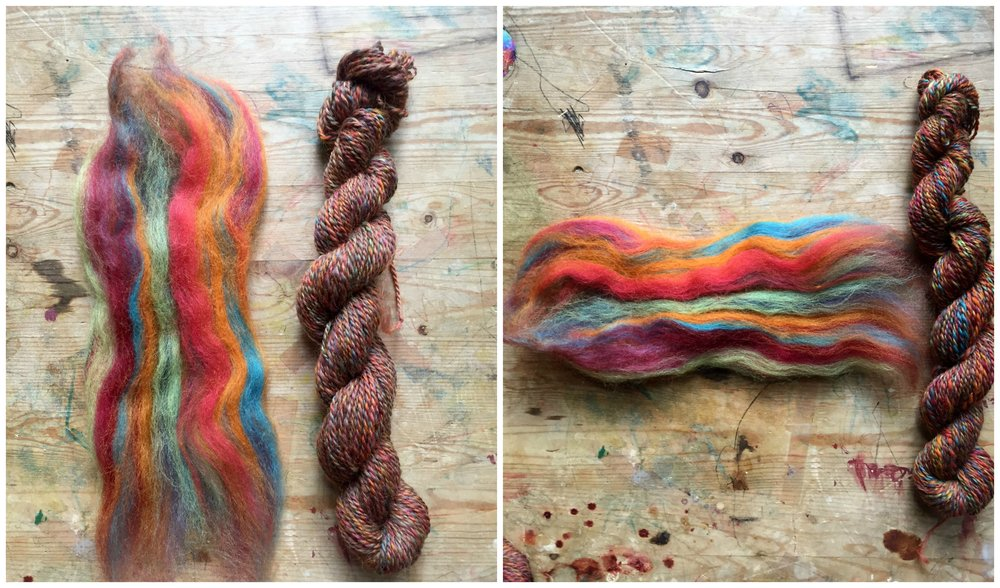 Left, yarn spun with the grain of the fiber, blending all of the colors. Right, yarn spun against the grain, one color at a time.
