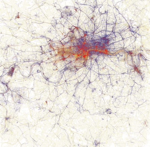 Eric Fisher,   Locals and Tourists, London , 2010. Visualization of photographs taken by locals (blue), tourists (red), or either group (yellow) in London, collected via Flickr. Base map © OpenStreetMap, CC-BY-SA; visualization © and courtesy Eric Fisher