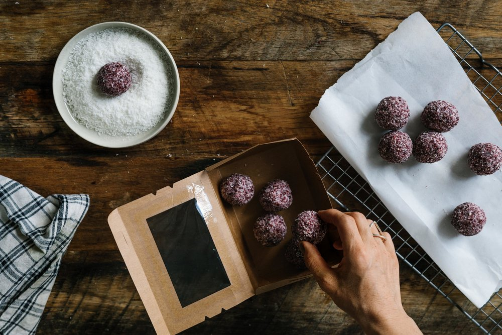 Organic   coconut and cranberry bliss balls -   a   sustainable and fair trade product by Coconut my Body. Photo: Marnie Hawson