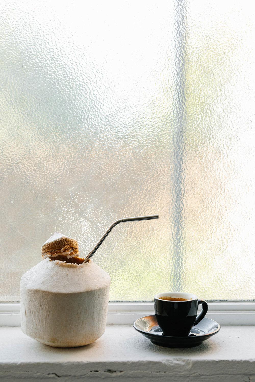 Organic coconut milk and short black coffee by Coconut my Body. Photo: Marnie Hawson