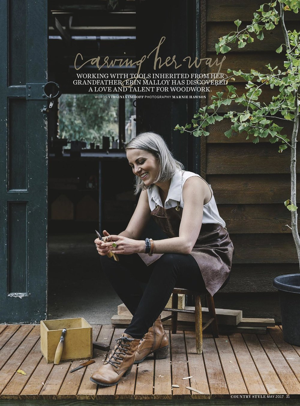 Marnie Hawson, Melbourne lifestyle photographer for Country Style magazine and Erin Malloy, woodworker