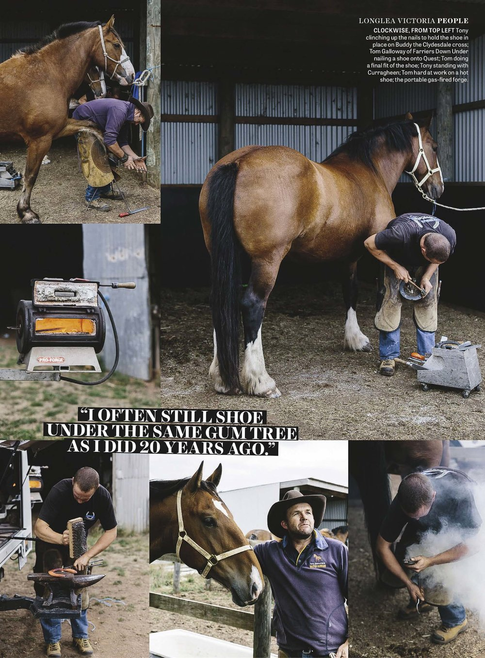 Marnie Hawson, Melbourne lifestyle photographer for Country Style magazine and Tony Blanchard, master farrier