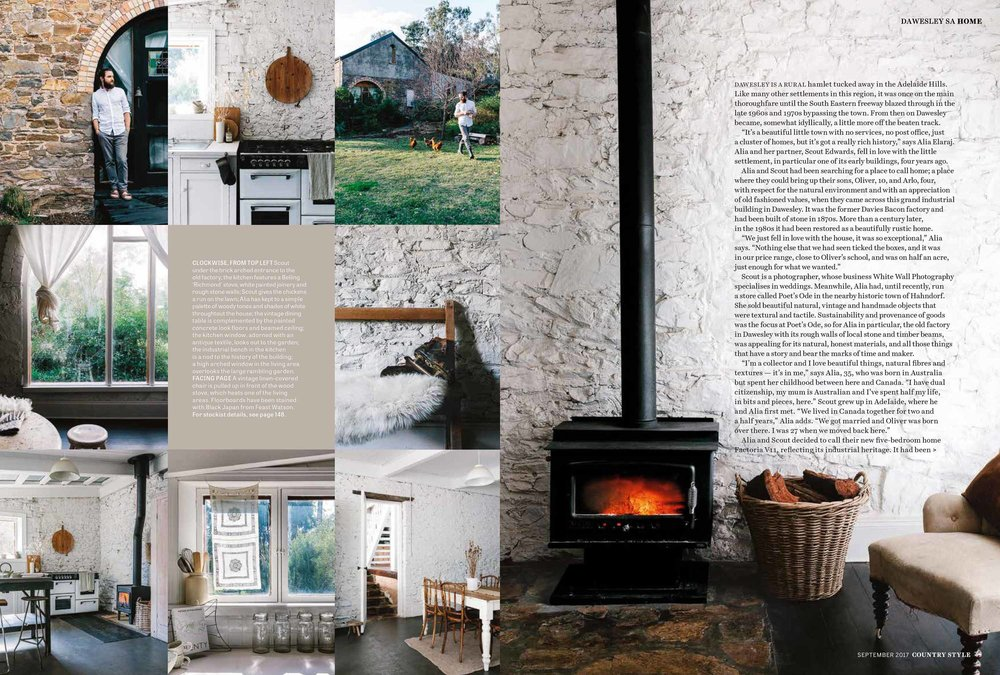 Marnie Hawson, Melbourne interior photography, for Country Style magazine and Factoria VII in Dawesley, SA