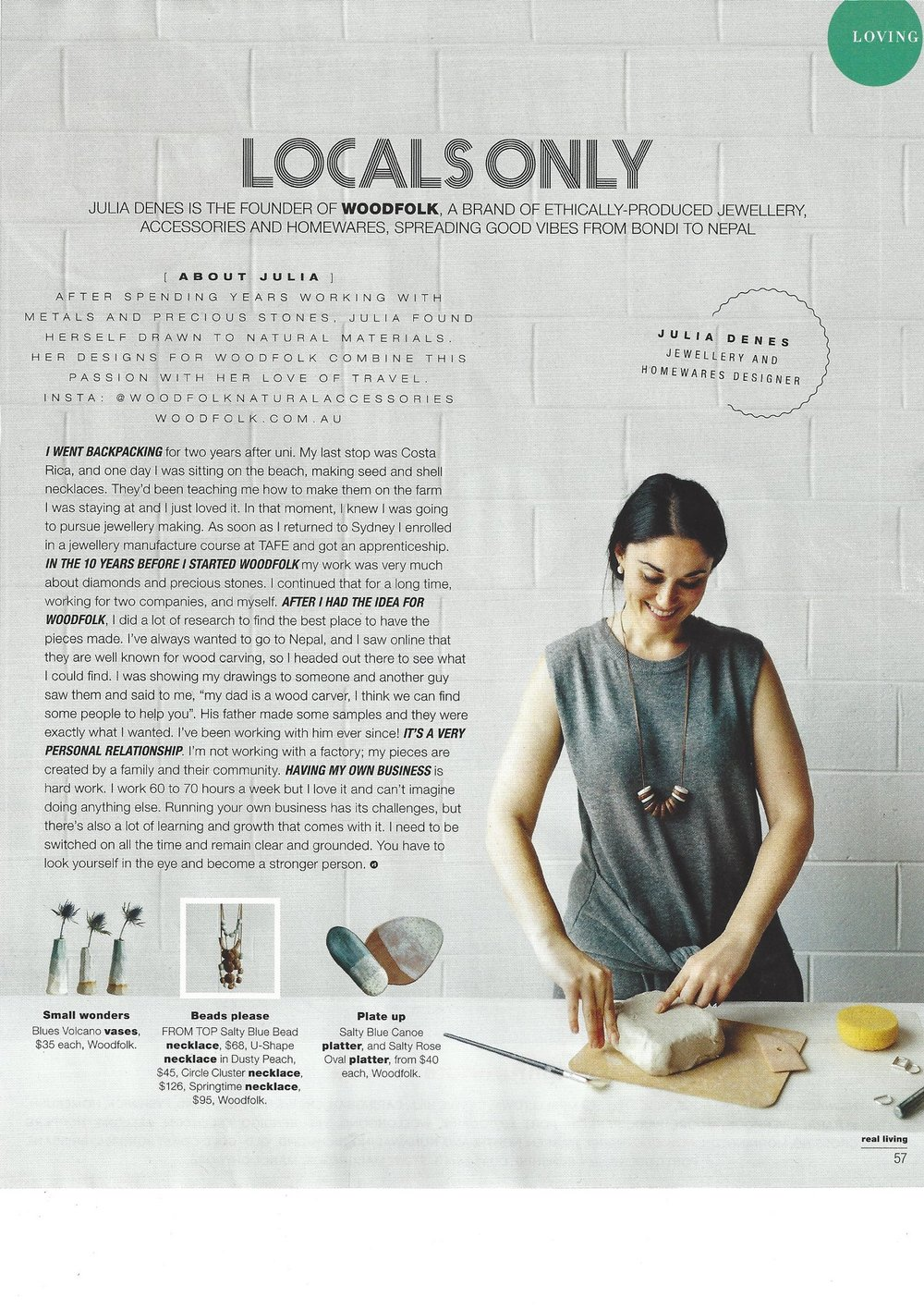 Woodfolk in Real Living magazine, December 2016