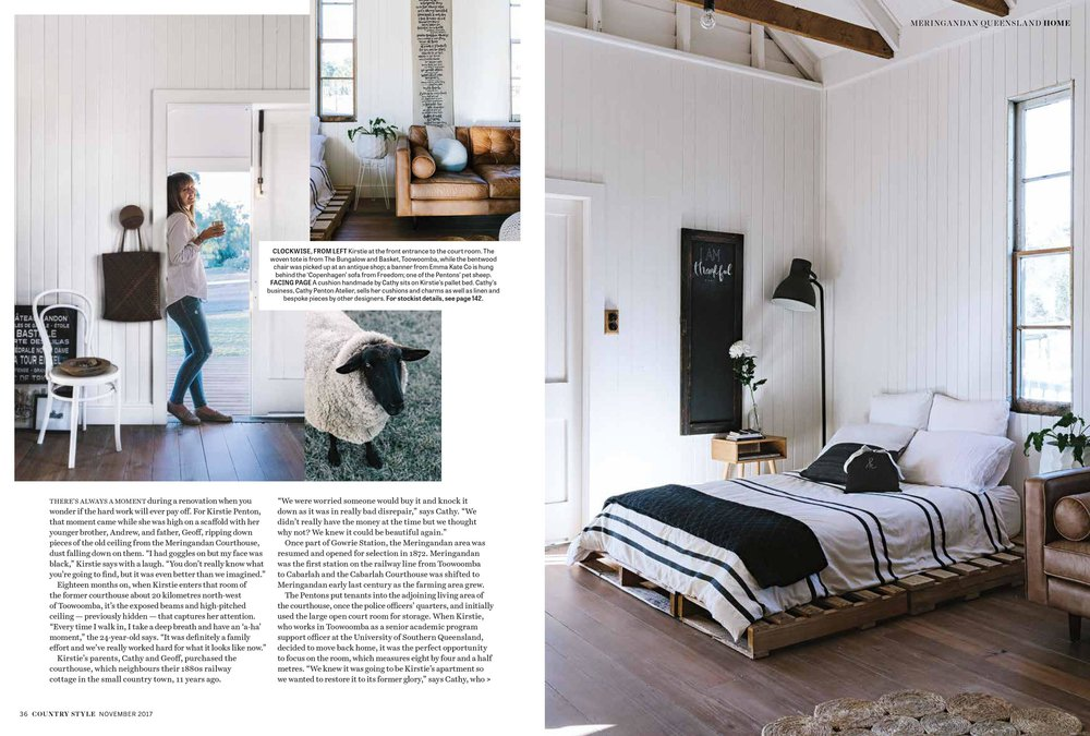 Marnie Hawson, Melbourne interior photographer for Cathy & Kirstie Penton, Meringandan and Country Style magazine, November 2017