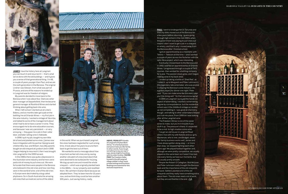Marnie Hawson, Melbourne lifestyle photographer for Langmeil Winery, Tanunda and Country Style magazine, November 2017