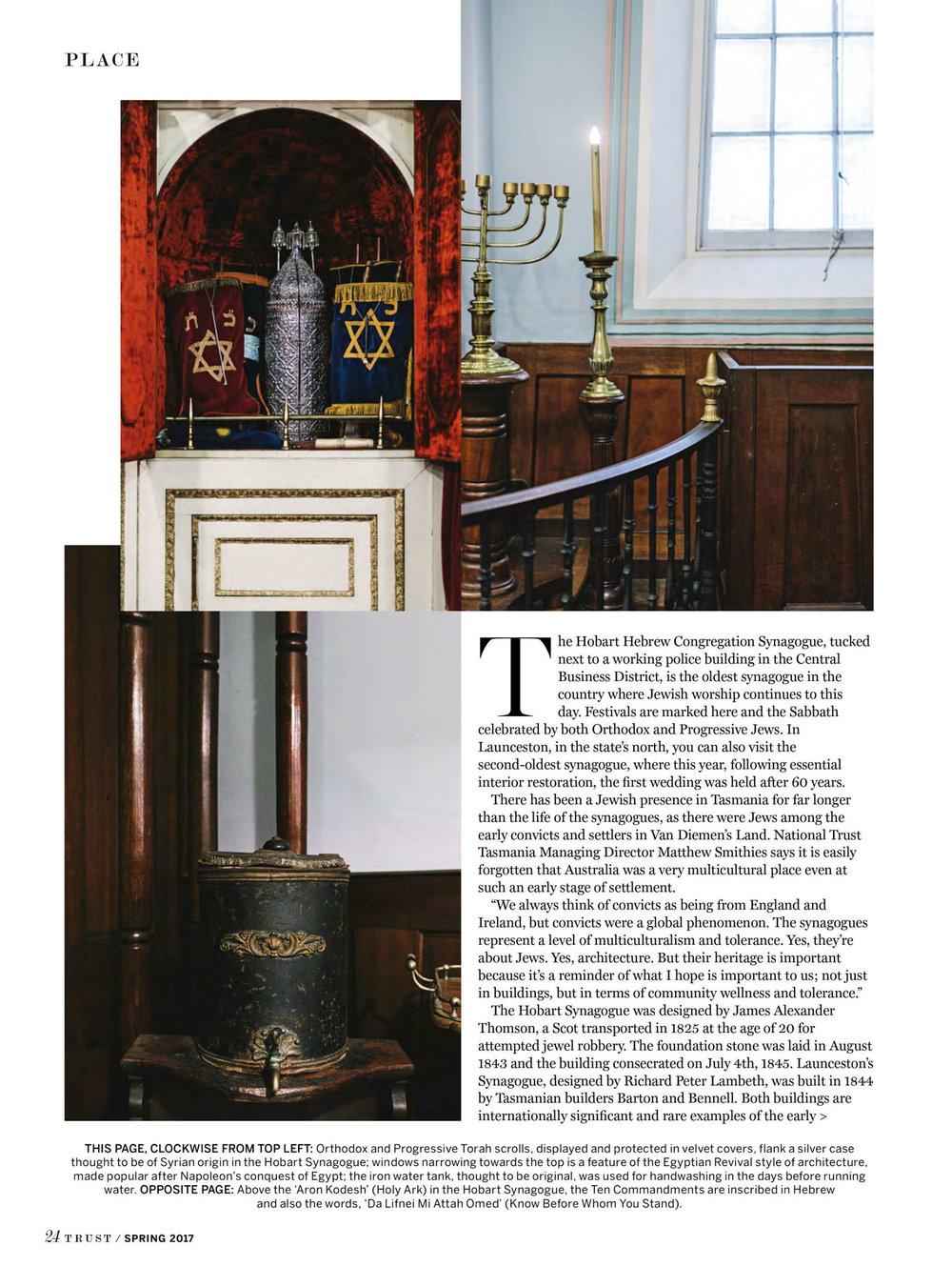 Marnie Hawson, Melbourne interior photographer for Trust magazine, Issue 3 (Australia's oldest synagogues, Tasmania)