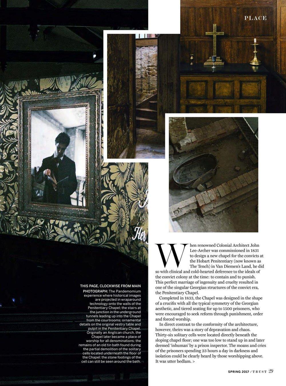 Marnie Hawson, Melbourne interior photographer for Trust magazine, Issue 3 (Hobart Penitentiary)