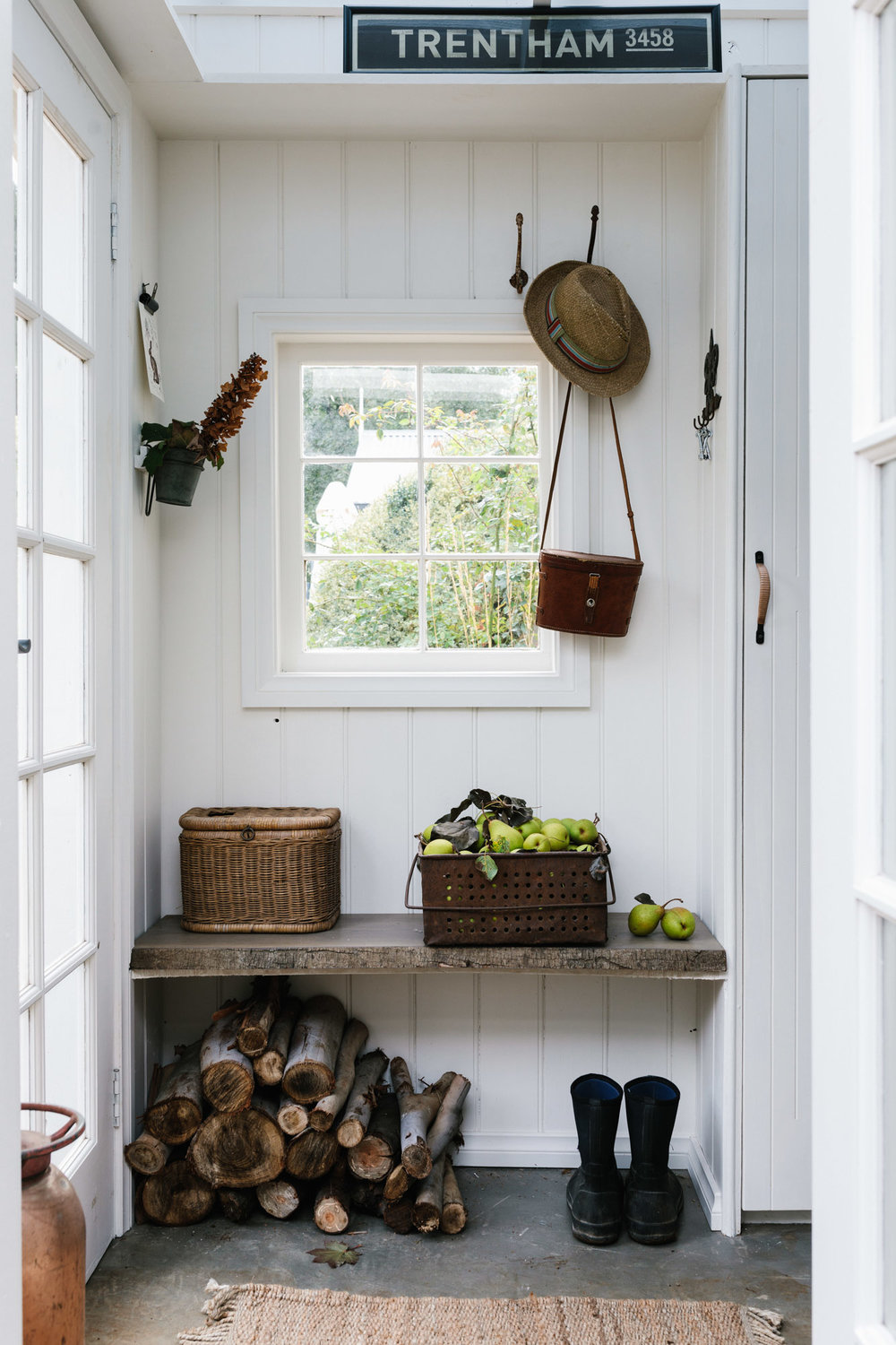 Mudroom at Acre of Roses, Trentham - a sustainable flower farm and luxury country accommodation. Photography by Marnie Hawson, Melbourne purpose-driven photographer and styled by Belle Hemming.