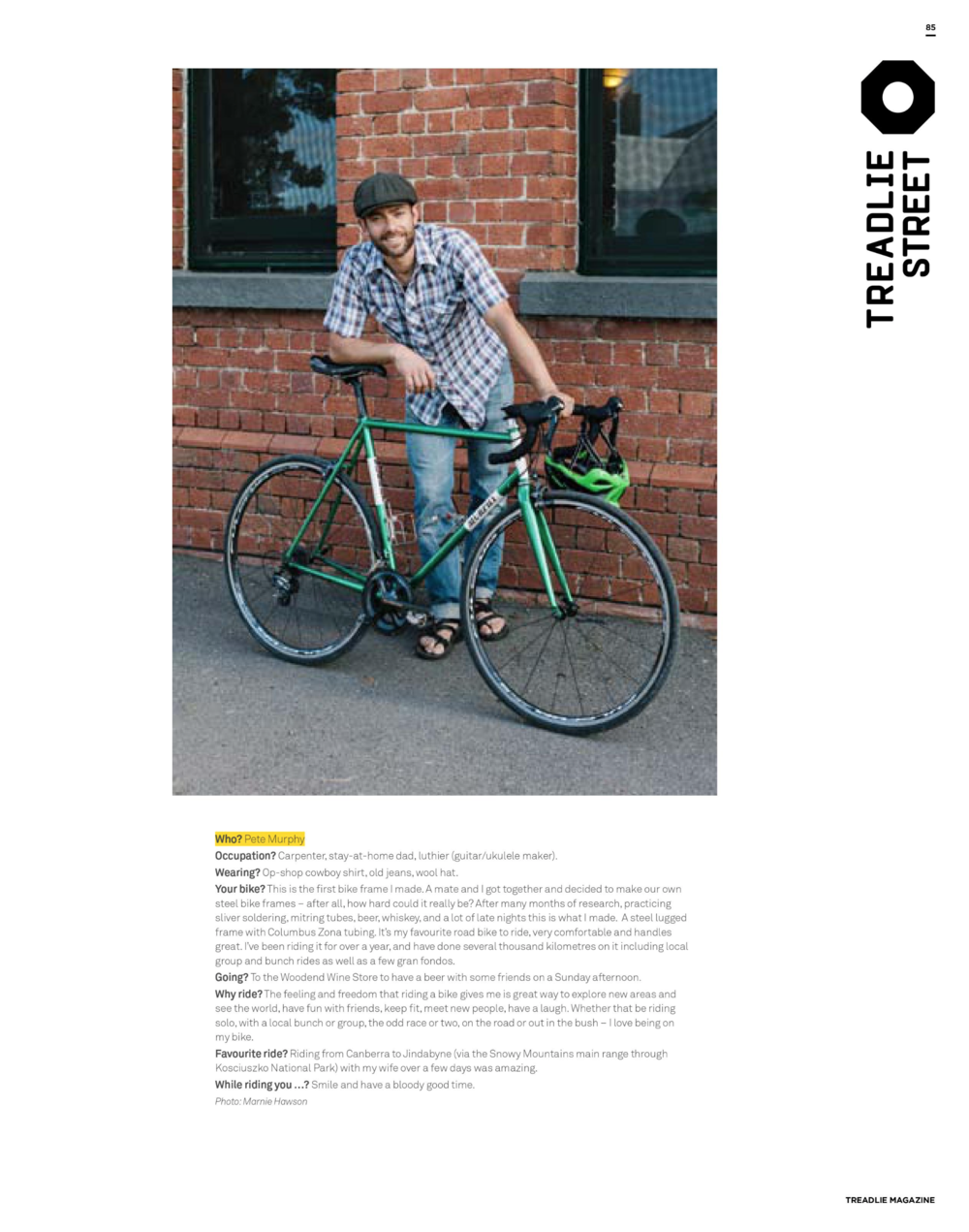 Marnie Hawson, Melbourne lifestyle photographer for Pete Murphy for Treadlie, Issue 22