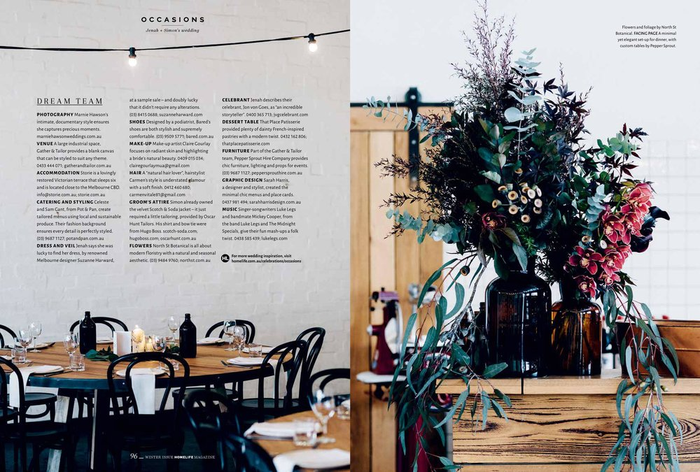 Marnie Hawson, Melbourne ethical wedding photographer for Jenah + Simon at Gather & Tailor and Homelife magazine, Issue 8