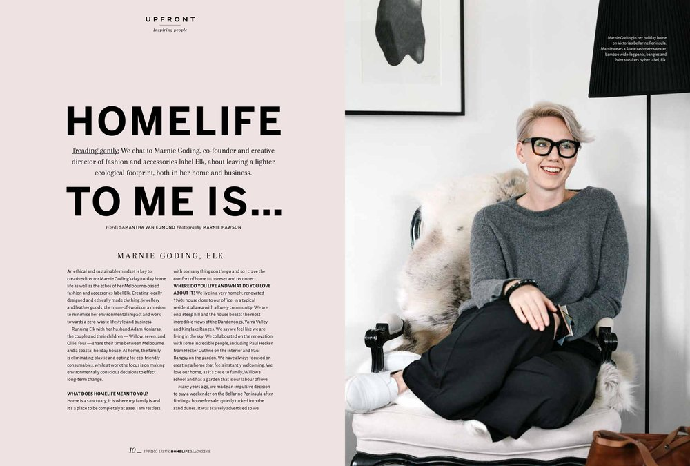 Marnie Goding, ELK founder for Homelife magazine. Photography by purpose-driven photographer Marnie Hawson.