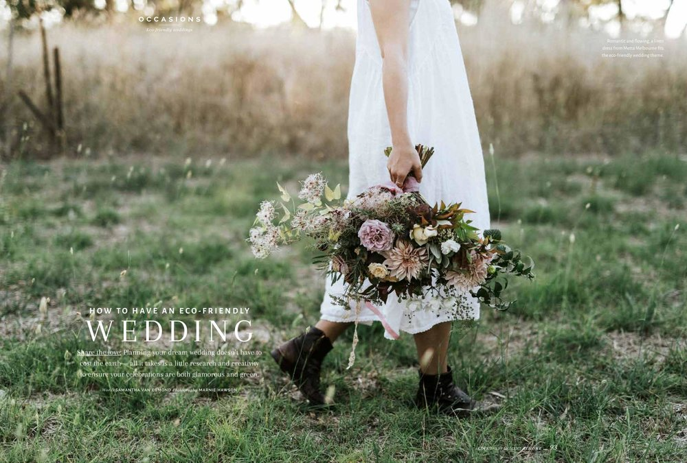 How to have an eco-friendly wedding. Photography by ethical wedding photographer Marnie Hawson.