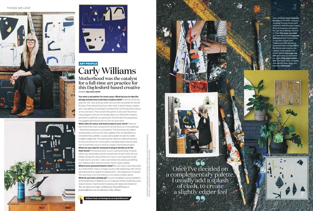 Marnie Hawson, Melbourne lifestyle photographer for Carly Williams Artist