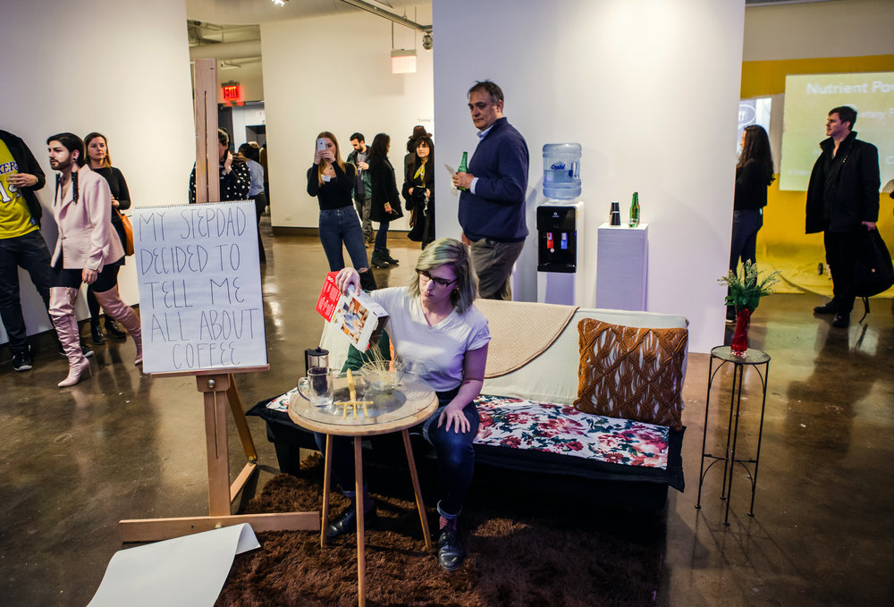 Documentation of  Coffee  at the opening of  4x4  at SVA Chelsea Gallery in NYC on 1/17/19