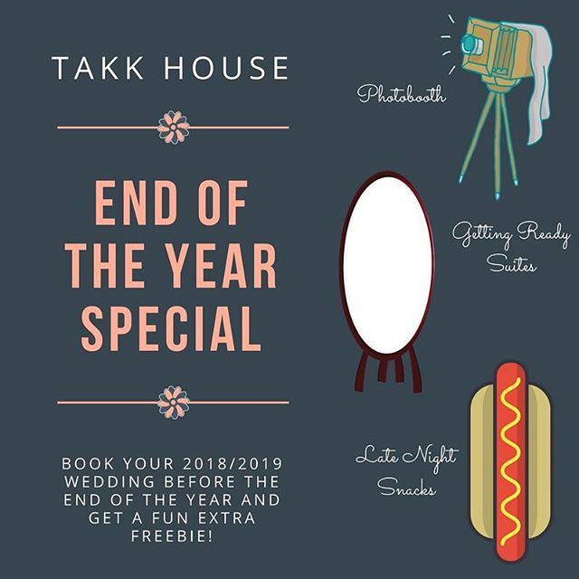Book your wedding with us before the end of 2017 and score a sweet bonus service! Woohoo! Just a little thank you and an early holiday gift from us to you! 🎄🙌🏻🐑#takkhouse #houseofthanks