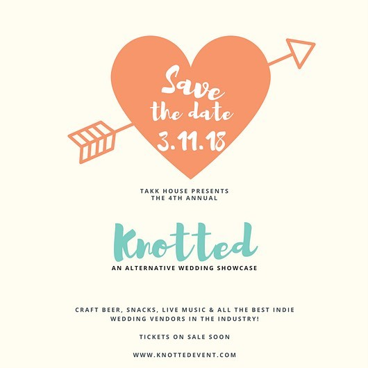 Knotted is back!! March 11, 2018! Vendor applications opened today! Are you a creative wedding vendor trying to reach your market? This is the show for you! www.knottedevent.com to apply.