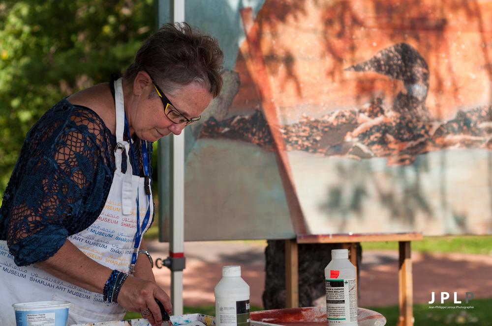 Plusieurs artistes peinturent sur place tout autour de l'étang.