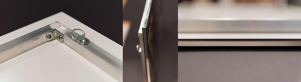 """Produit sur du papier premium glacé à l'aide du système 12 couleurs LUCIA EX.Celui-ci est pris en sandwich entre une feuille d'acrylique 3/16"""" et un panneau d'aluminium.Le tout monté sur un cadre flottant d'aluminium de 3/4""""."""