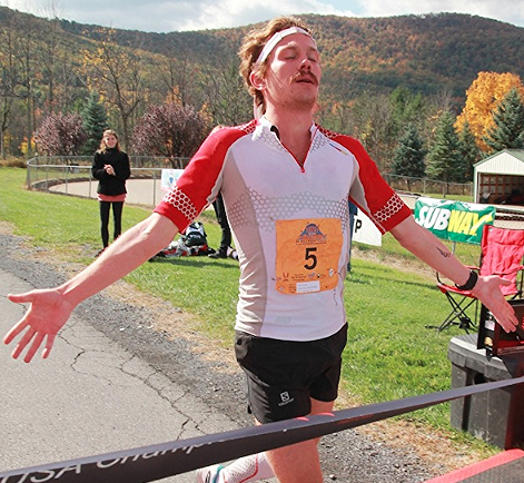 Matt winning the U.S. 50 Miles Champs. Photo courtesy of Tussey Mountainback 50 Mile.