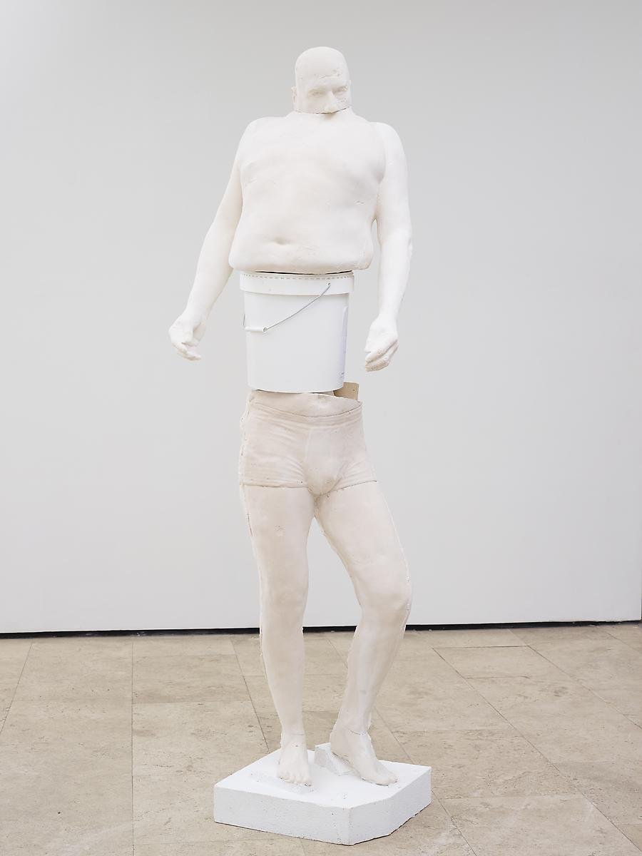 ERWIN WURM  White Bucket (Synthesa)  , 2013   acrylic, paint, plastic bucket   90.55 x 31.5 x 23.62 inches, 230 x 80 x 60 cm   Edition of 3   LM18531