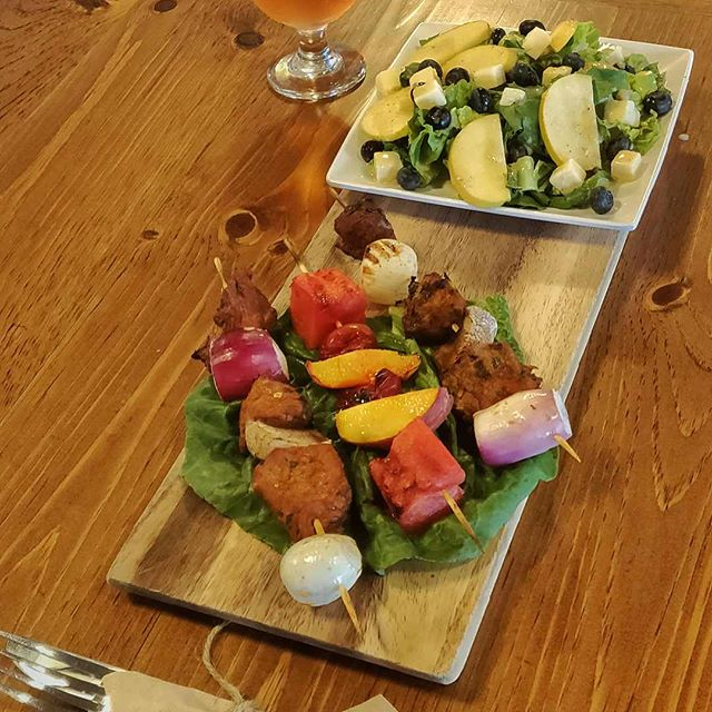 Our farm kitchen dinner special. Citrus marinated sirloin steak kabobs, grilled watermelon & peaches and a side of our orchard salad w/house-made champagne vinaigrette. #localeats #farmlife #drinkcider #tgif #livemusic
