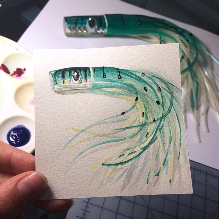 "Little Paintings of my Favorite Things #1 - Grandpa's Fishing Lure Gouache 3"" x 3"""