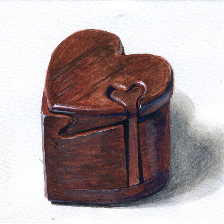 "Little Paintings of my Favorite Things #3 - Puzzle Box from Grandma Gouache 3"" x 3"""