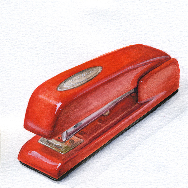 "Little Paintings of my Favorite Things #4 - The Red Stapler Gouache 3"" x 3"""