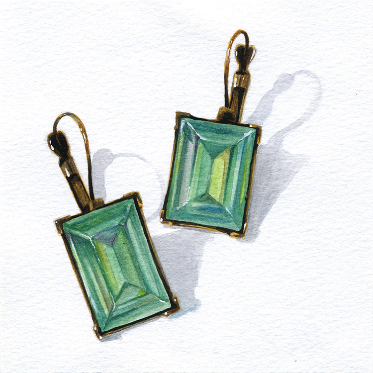 "Little Paintings of my Favorite Things #5 - Ghost Earrings from Mom Gouache 3"" x 3"""