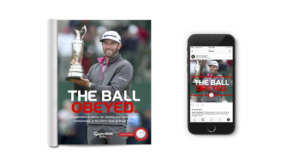 Print ad that taps into Dustin Rose's recent US Open victory. Dustin Rose is a TaylorMade sponsored player.