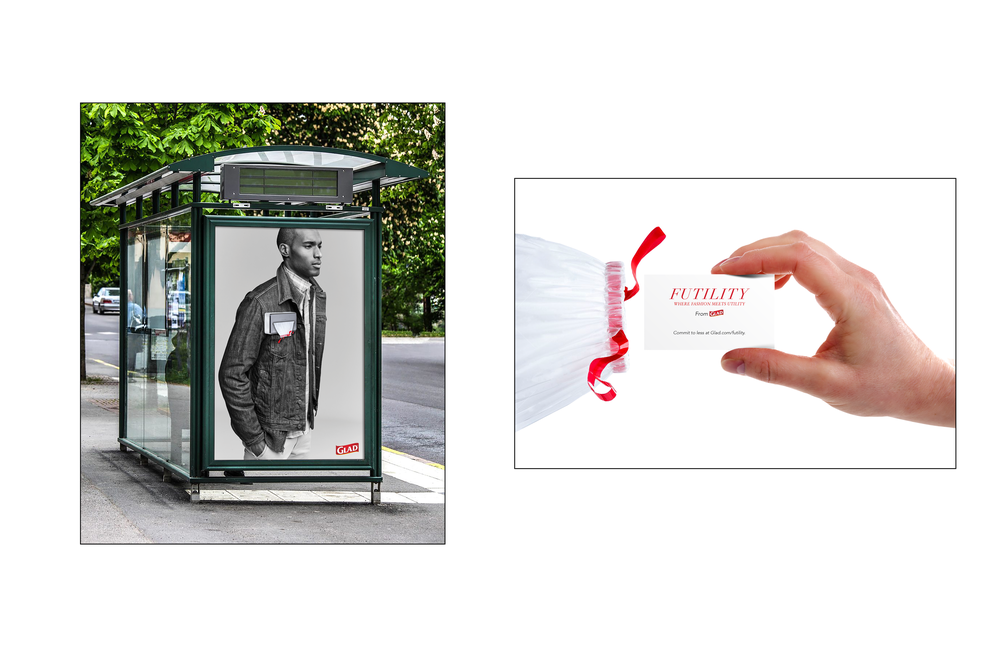 "Above  : Interactive bus displays with removable pocket square trash bags. Inside these bags are cards that invite the viewer to ""commit to less"" at Glad.com, where they are then presented with Glad's challenge to use less trash."