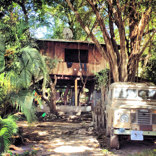 Jefry's tree house loft and vintage Jeep