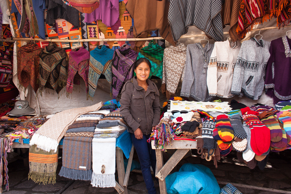 Ruth is 14 years-old and lives in Pisaq, Peru; she knits beautiful scarves and bracelets to sell at the market