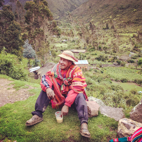 "Drinking ""happy beer"" in Lares, Peru"