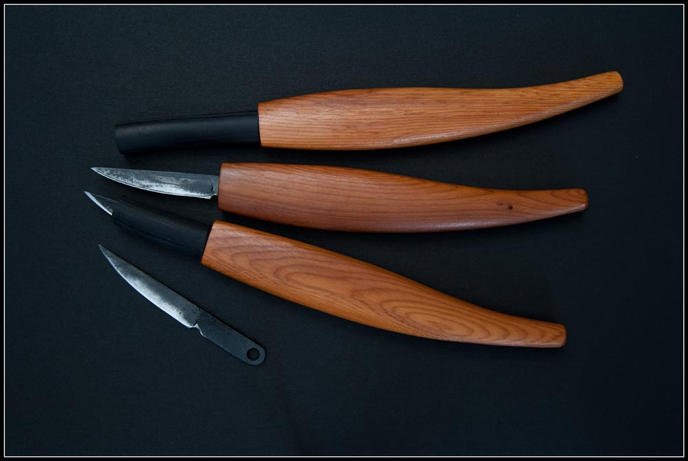 Three Detailing Straight knives in Yew. More often these knives come in hardwood such as Eastern Rock Maple.  Due to the nature of our wood supply, it is difficult for us to accommodate personal preference in wood choices.