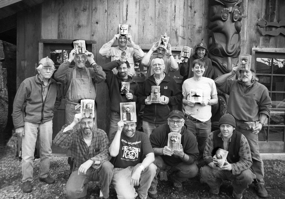 Wolf Dancer frontlet class, one of many classes taught in the past at the Kestrel Tool shop.  Gregg is on the far right.  Bill Holm instructed the class, is on the far left.