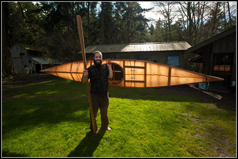 Charlie with kayak he made with Brian Shulz at Cape Falcon Kayak.  Cedar and oak, steam bent, lashed and sewn.