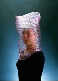 Caroline Broadhead  Necklace/Veil  1983  National Gallery of Victoria  Nylon monofilament and dye  7.6 x29.2cm