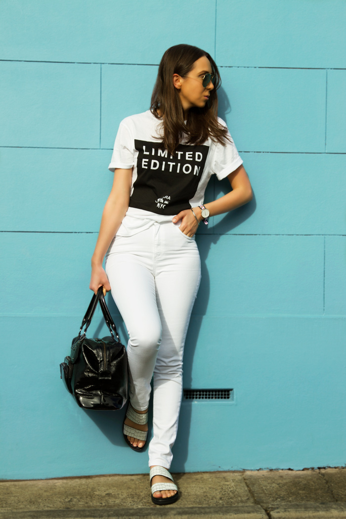 White jeans outfit with a tee — NOT A MODEL