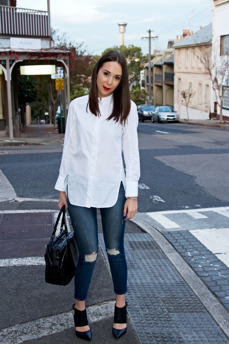 What looks good with Jeans? A White Shirt and Heels that's ...