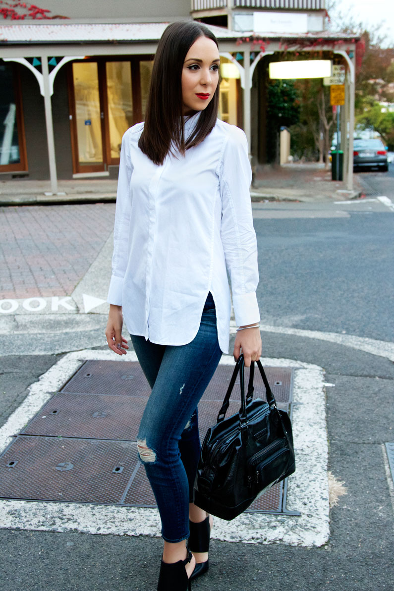 d0a1c463d38 What looks good with Jeans  A White Shirt and Heels that s what ...