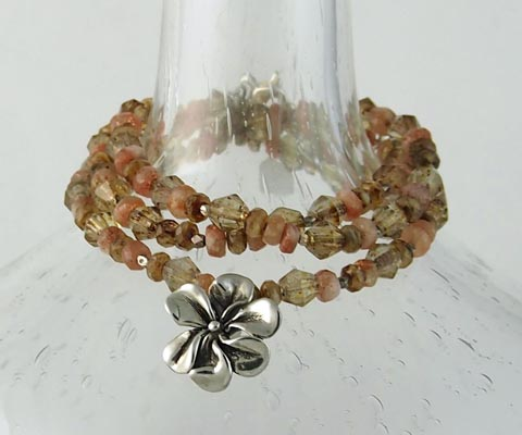 Hawaiian Daisy Wrap Bracelet on semi-precious stone band