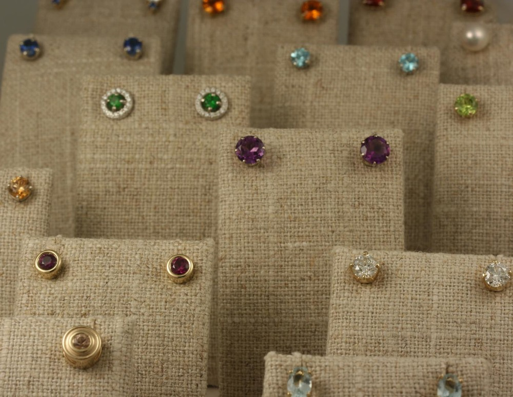 Just a few of our birthstone stud earrings