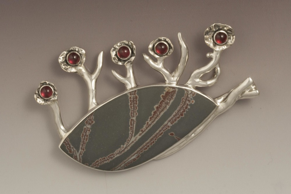 """Cherry Blossom"" Pendant/Pin with sonora dendritic jasper, sterling silver, fine silver and garnets"