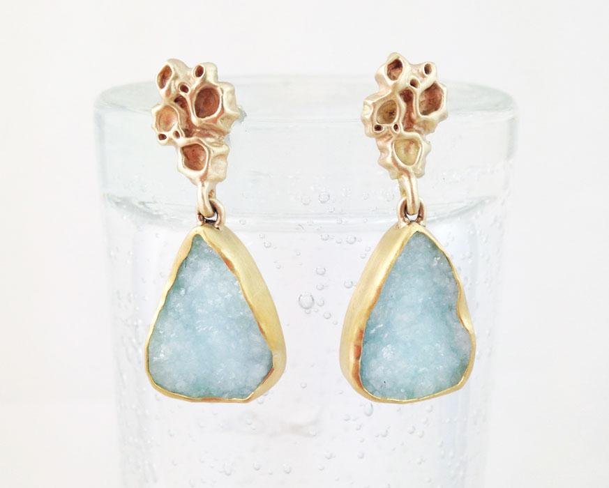 14 & 22 karat Barnacle Cluster earrings with drusy Smithsonite