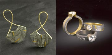 18 karat yellow gold and meteorite earrings with 24 karat gold inlaid on the meteorite (left). Three styles of diamond rings with meteorite and 18 karat yellow gold (right).